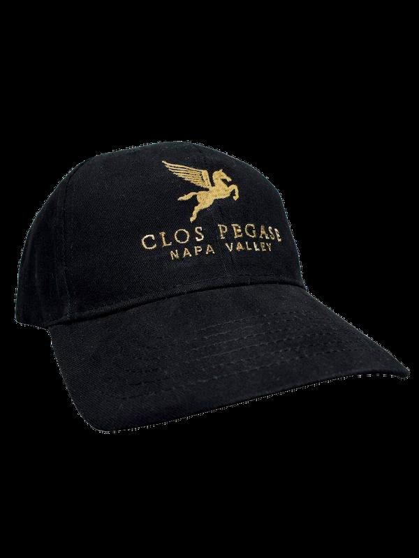 Clos Pegase Cotton Baseball Hat, Black with Gold Logo