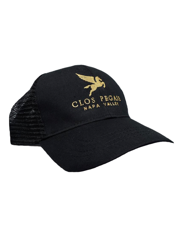Clos Pegase Trucker Hat, Black with Gold Logo